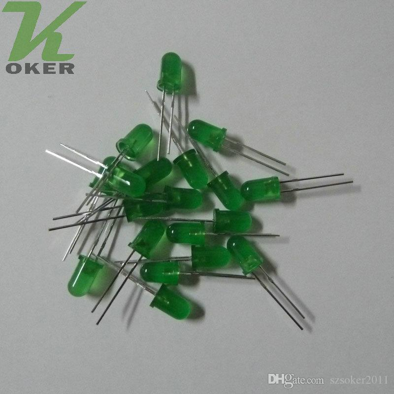 5mm verde difusado lâmpada de luz lâmpada de luz emitindo diodo nevoento ultra brilhante plug-in DIY kit prática de grande angular