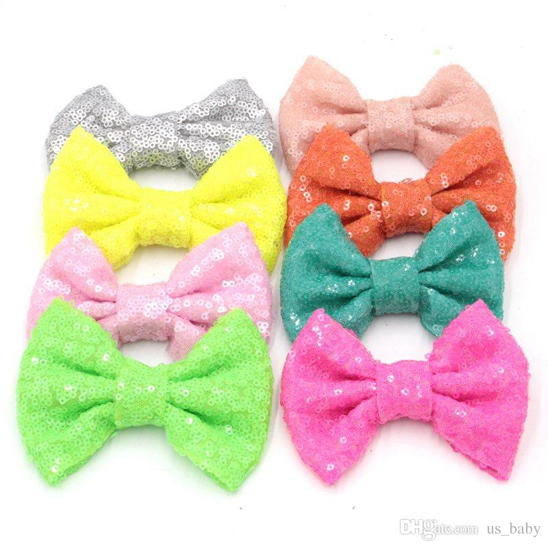 4Inch Sequin Big Bow DIY Headbands Accessories Baby Boutique Hair Bows without Alligator Clip for Girls choose