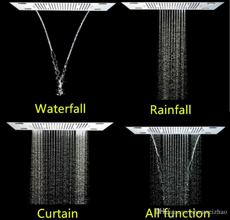 Thermostatic shower set bathroom remote control multifunction rainfall waterfall curtain LED light rain shower head set