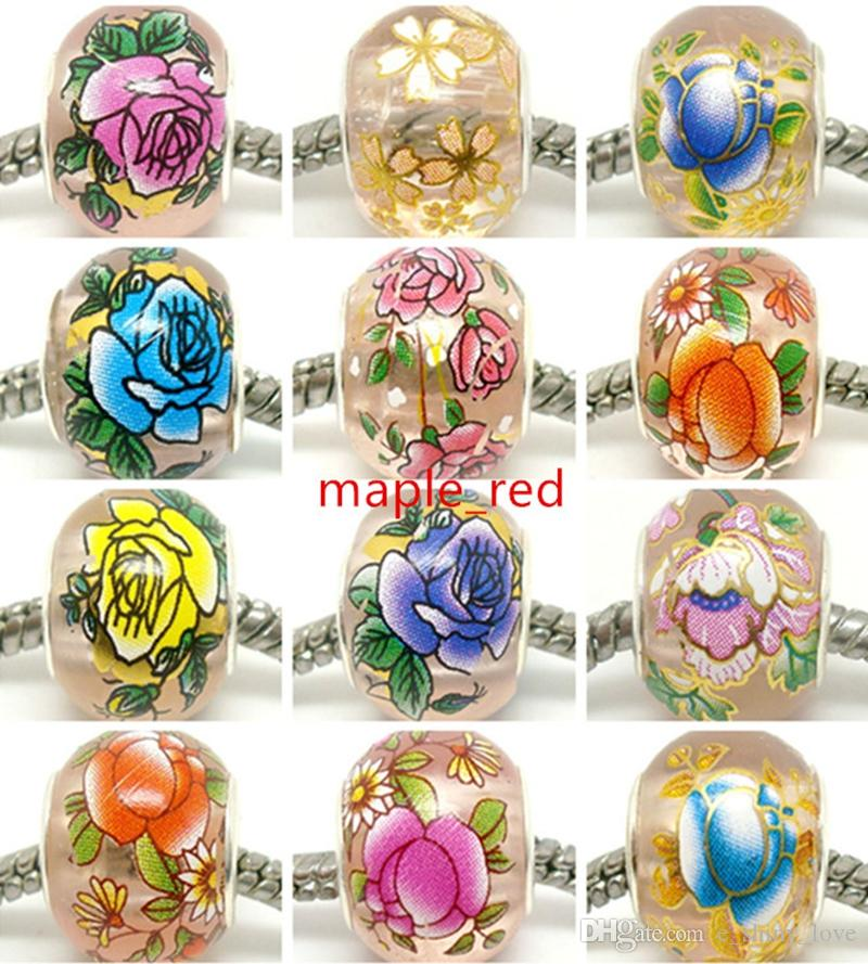 Round Mixed Pink Flower Crystal Beads for Jewelry Making Loose Lampwork Charms DIY Beads for Bracelet Wholesale in Bulk Low Price