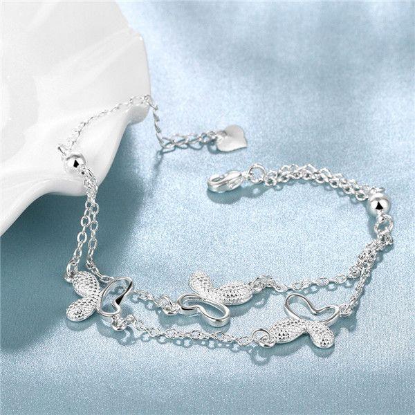 Venda quente presente de natal 925 pulseira de prata borboleta DFMCH409, marca nova moda esterlina prata banhado a corrente corrente de braceletes de alta qualidade