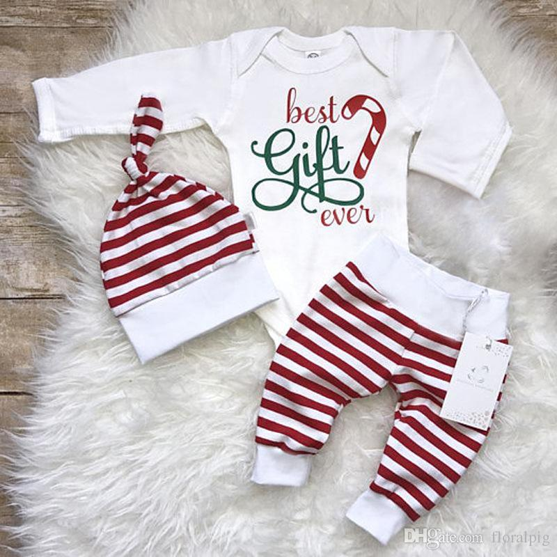 2019 2017 Baby Girls Christmas Outfits Infant Toddler Top Romper +Red  Striped Pants+Hat Baby Winter Clothing Sets From Floralpig, $24.43 |  DHgate.Com - 2019 2017 Baby Girls Christmas Outfits Infant Toddler Top Romper +