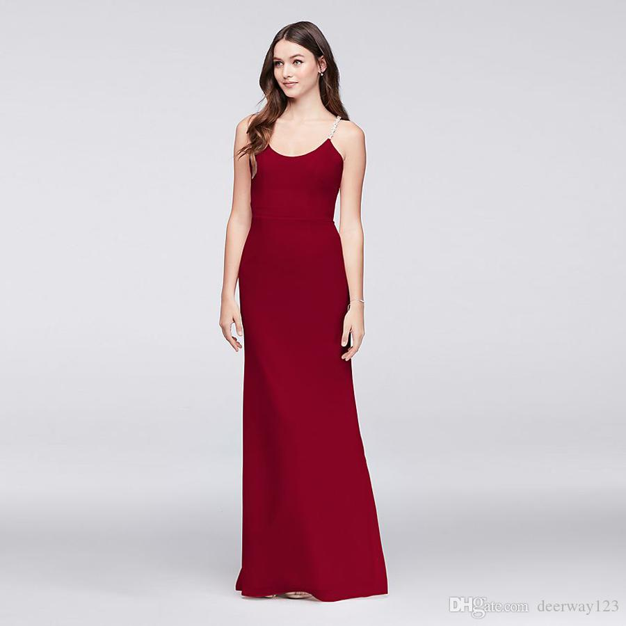 Chiffon Sheath Bridesmaid Dress With Beaded Spaghetti Straps F19526 ...