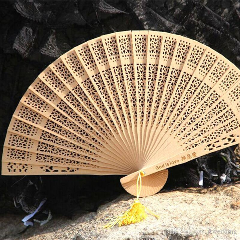 50Pcs/Lot Gold Color Wooden Fan Wedding,Personalized Folding Hand Fan With Gift Organza Bag,Customized Wedding Favours For Guests Print Logo