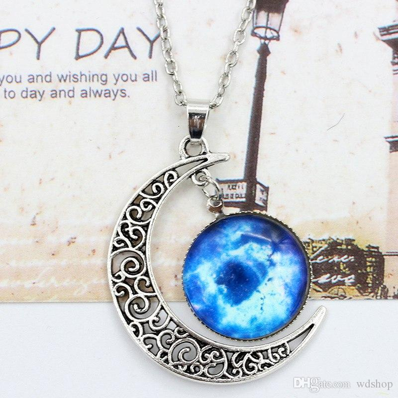 Vintage Moon Necklace High Quality Starry Moon Gemstone Pendants Necklaces Jewelry Children Accessories Bjd Nerf Xmas Gift