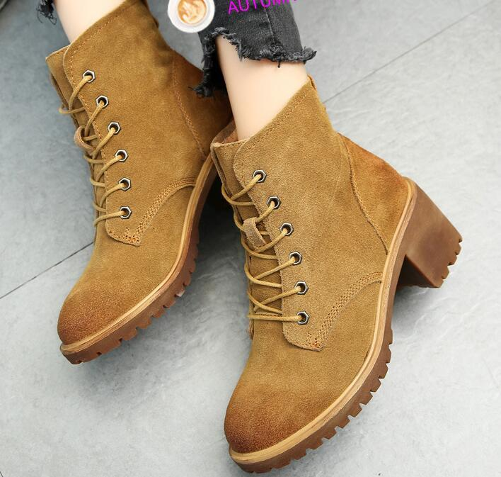 2017 New Autumn Winter Women Boots High Quality Solid Lace-up European Ladies shoes Cow Leather Fashion Boots