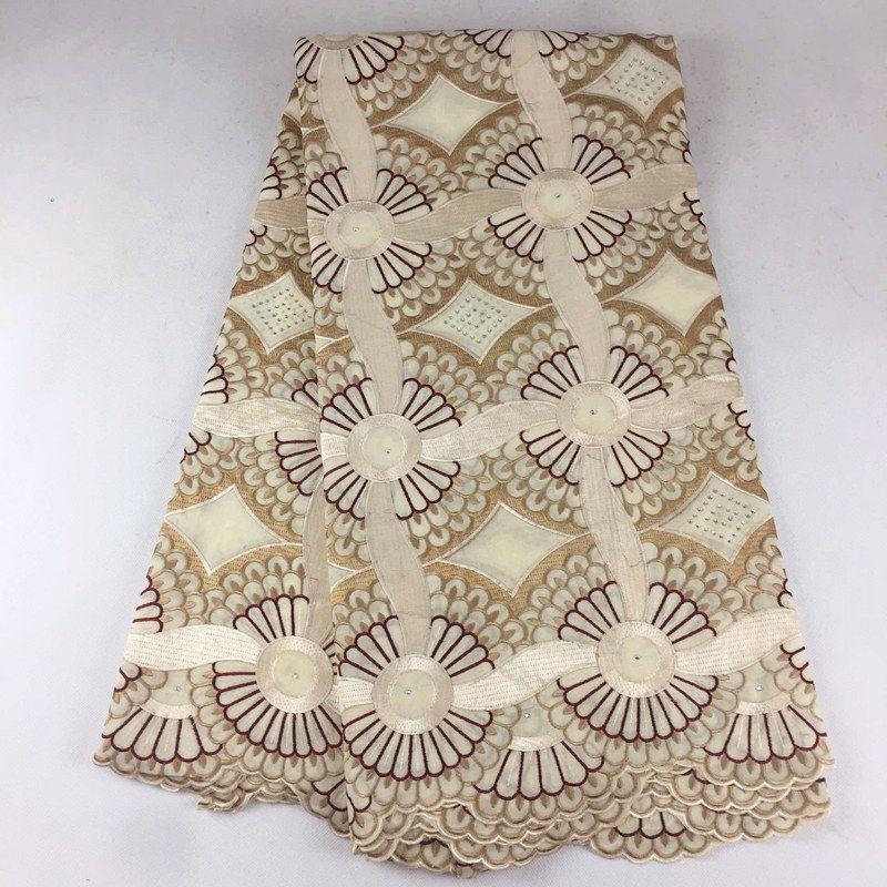 Hochwertige afrikanische Schweizer Voilespitze 079, freies Verschiffen 5 Yards / Pack, 100% Baumwolle afrikanische Hochzeitsfest-Voilespitze-Kleidung