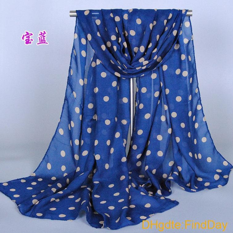 Supernova Sale Stylish Girl Long Soft Silk Chiffon Scarf Wrap Polka Dot Shawl Scarve For Women Hot Sale