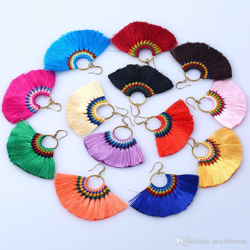 Lady Fashion Hot Flecos pendientes pendientes para mujer mujer regalos de boda Boho borla gota cuelga los pendientes joyería es B658L