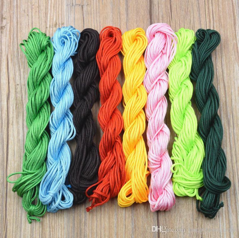 Wholesale 5 rolls12 meters/roll Nylon Cords 1.5mm Shamballa Macrame Rattail Braided Knot Beading Thread String Craft DIY Findings