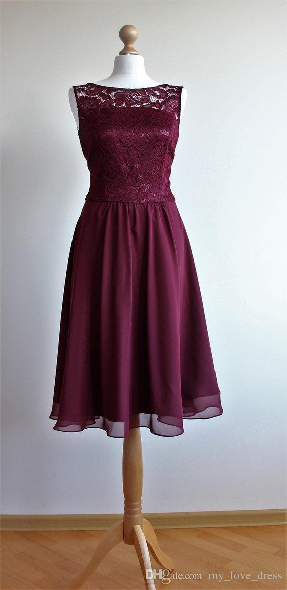 Robe de demoiselle d'honneur courte Bourgogne Dentelle Codice courte V robe de soirée de dos Marsala mousseline de chiffon robe de bal de genou