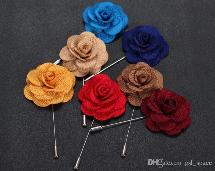 2017 Yaka Çiçek Adam ve Kadın Kamelya El Yapımı Yaka Çiceği Sopa Broş Pin erkek Aksesuarları içinde 22 Renkler