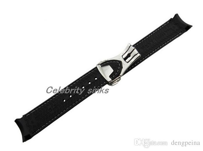 20mm fibbia 18mm NUOVO GRADO SUPERIORE Linea nera e bianca impermeabile subacquea cinturino cinturino in caucciù con fibbia in argento orologio Omega