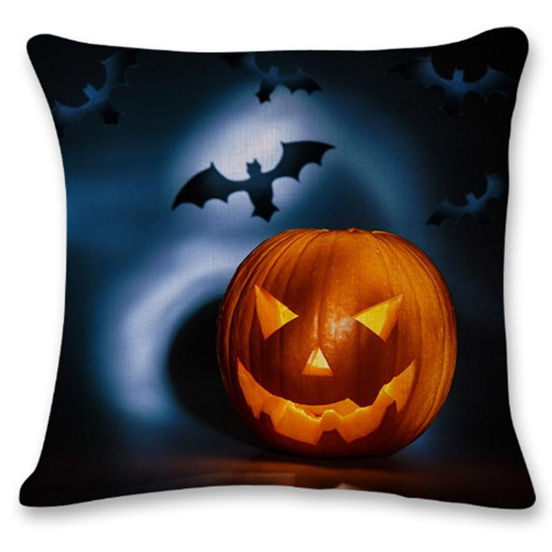 Halloween Cushion Cover Pumpkin Bat Pattern Home Decor Square