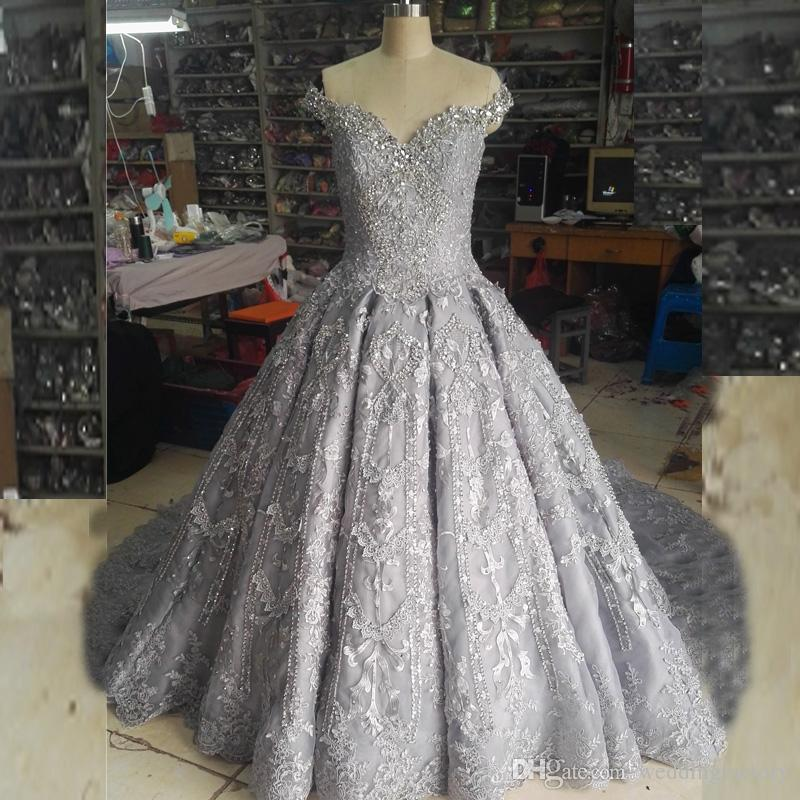 Real pictures ball gown bling wedding dress luxury white ivory real pictures ball gown bling wedding dress luxury white ivory silver off the shoulder crystals beads lace appliques bridal gown court train silver wedding junglespirit Image collections