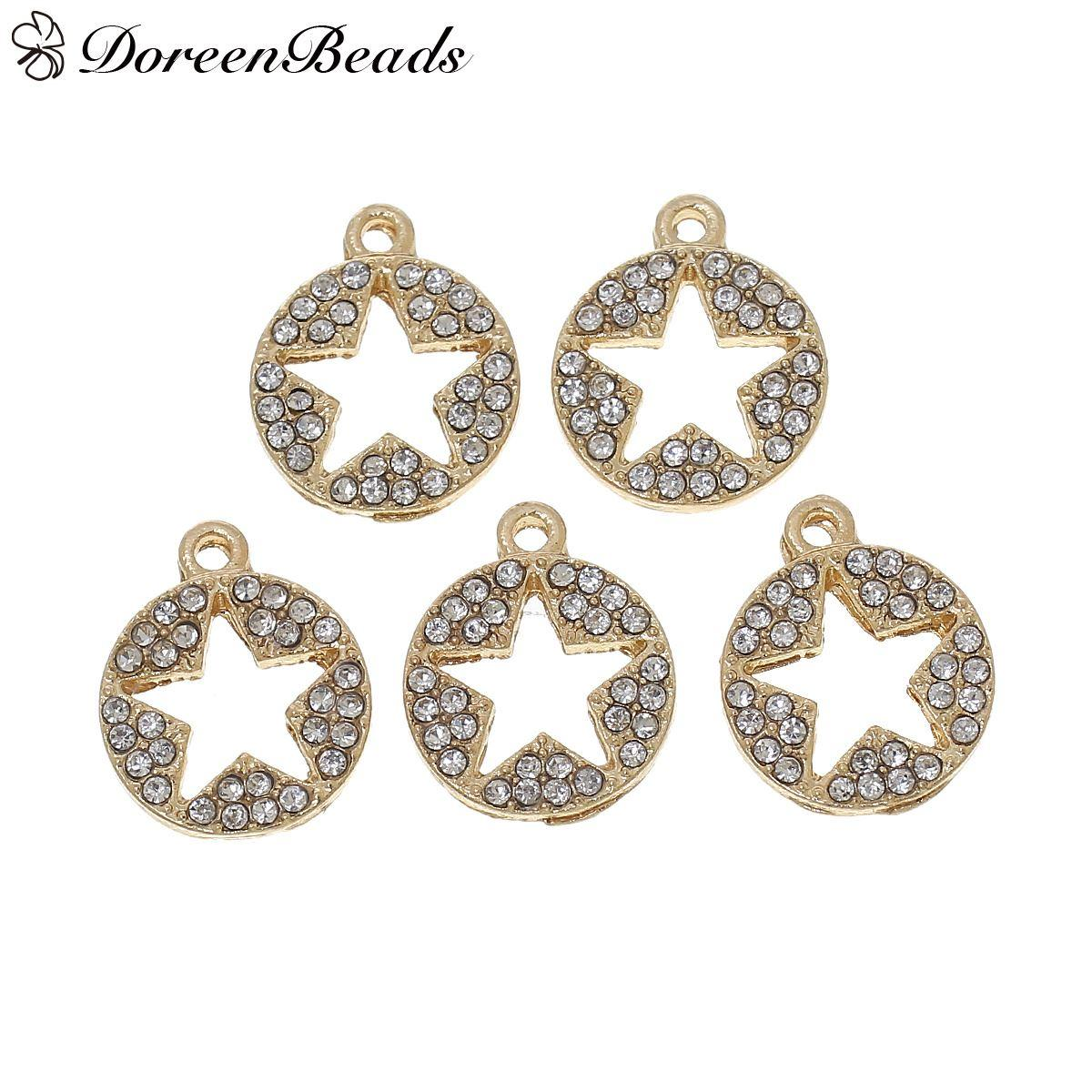 Charms Round Gold Plated Pentagram Star Hollow Carved Clear Rhinestone  15mm5 8X 13mm4 8 b916d9df18b5