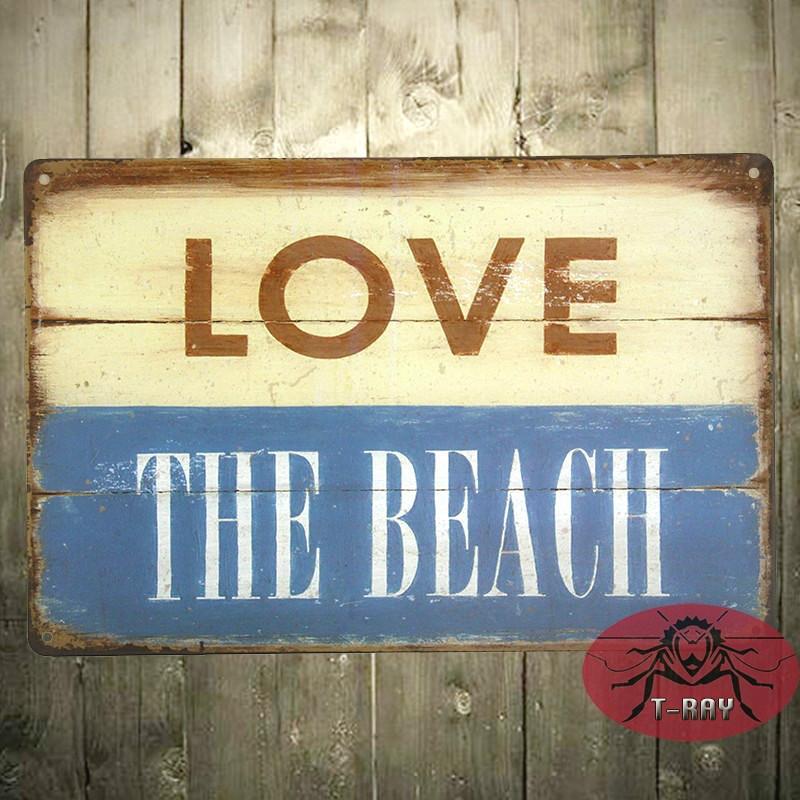 Love The Beach Metal Sign, Tropical Beach House Decor H 120 160909 ...