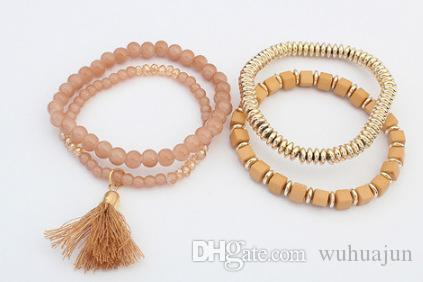 New Style Multi layer Elastic Bracelet Women Pompom Tassel Beads Bracelets Red/Blue/Black/Green/Apricot Bracelet