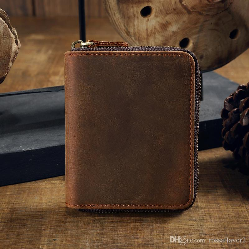 1672e7e29a57b Best Selling HOT Genuine Crazy Horse Cowhide Leather Men Wallet Short Coin  Purse Small Vintage Wallet Brand High Quality Designer Purse Wallet Cute  Wallet ...