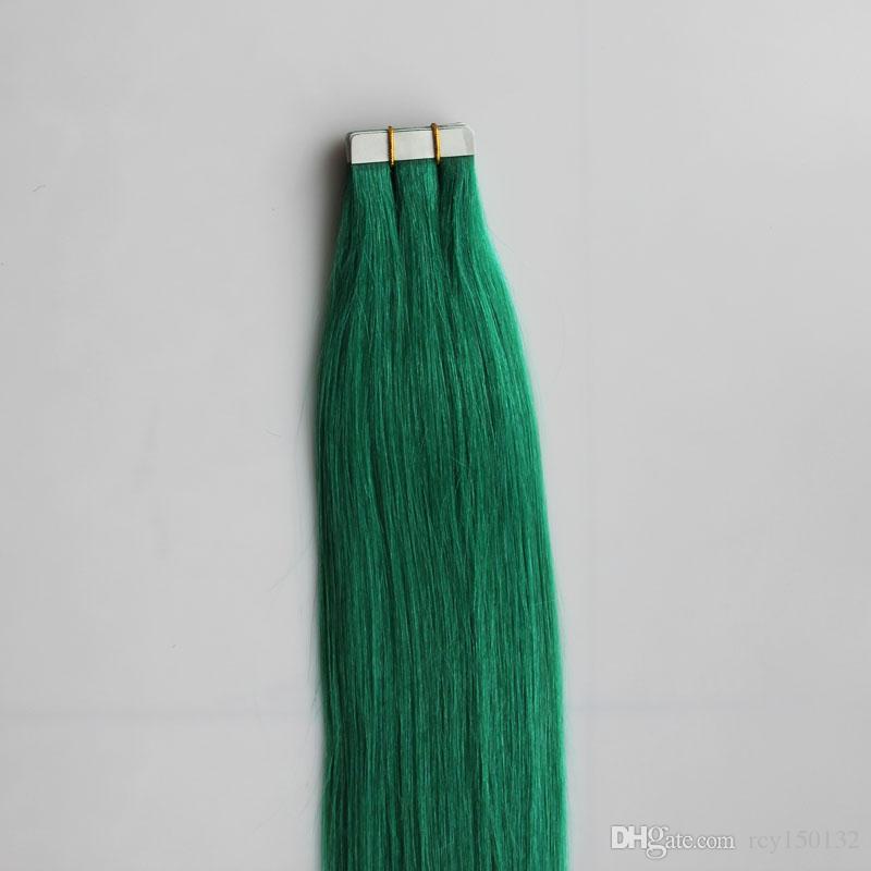 인간의 머리카락 확장에 그린 테이프 비 - 레미 브라질 스트레이트 헤어 30g 40g 50g 60g 70g 양면 테이프 피부 Weft 헤어 익스텐션