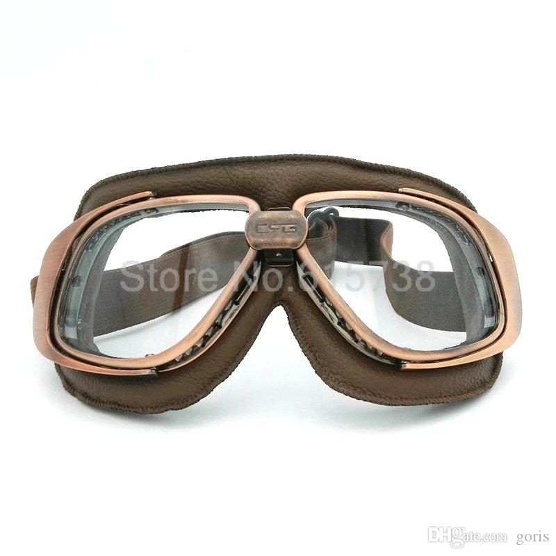 Helmet Goggles Motorcycle Goggle Cycling Vintage Pilot Biker Leather For Motorcycle Bike ATV Goggle 5 Lens Color
