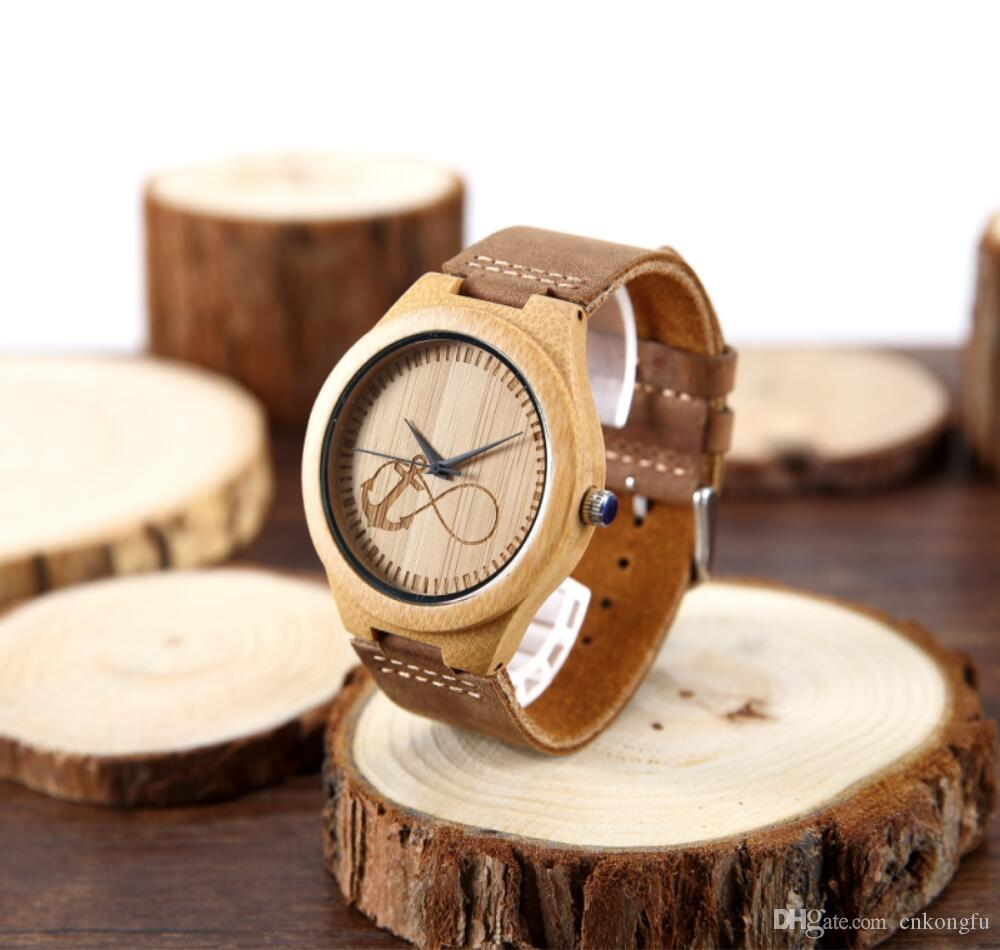 handmade cheap leather strap bamboo watch custom fashion wrist we and wood product detail watches men wholesale logo