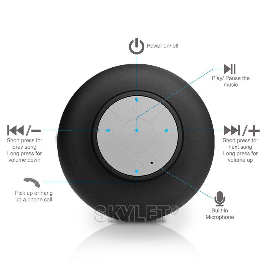 Alto-falante Bluetooth Sem Fio À Prova D 'Água Chuveiro Handsfree Microfone De Sucção Chuck Alto-falante Do Carro Portátil mini MP3 Super Bass Chamada Receber