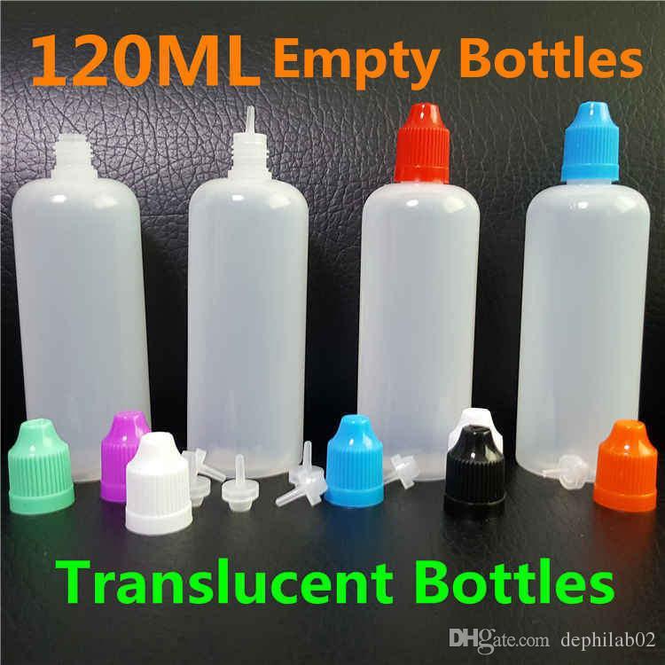 Coloré 60 ml 100 ml 120 ml Flacon compte-gouttes E Liquide Vide 60 100 bouteilles en plastique de jus de clope de vape PE vape avec des bouts longs et minces