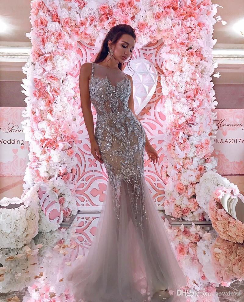 Großhandel Meerjungfrau Abendkleider Lange Strasssteine Graue Gastkleider  Sexy Sheer Plus Size Abendkleid Bodenlang Von Newdeve, 11,11 € Auf