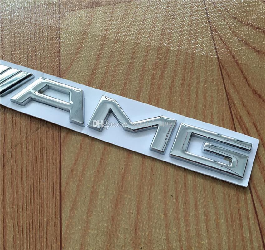 Alta calidad 10 unids / lote Metal Plata Cromo Negro 3 M AMG Etiqueta de la etiqueta engomada del emblema del coche insignias para Mercedes CL GL SL ML A B C E S clase Car st