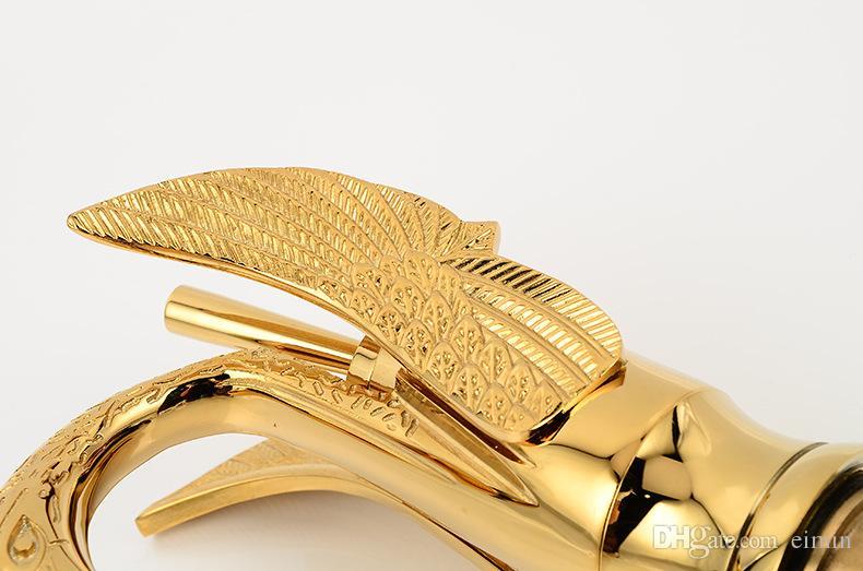 Wholesale and retail Copper basin faucet Kitchen & bathroom faucet European-style Golden Swan Luxury design