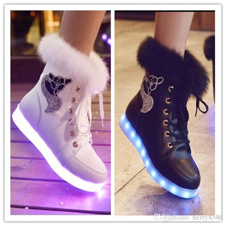 Winter Boots LED Shoes Black Light Up Shoes Luminous Women USB Charging  Colorful Glowing Shoes Short Floss Snow Boots Wedges Shoes Designer Shoes  From ... da95684f6
