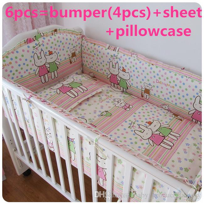 Promotion! 6PCS Baby Crib Bedding piece Set Bed Linen 100%Cotton crib set cot set, (bumpers+sheet+pillow cover)