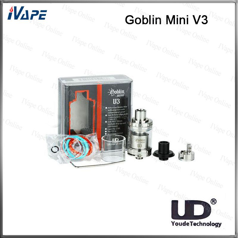 100% Original UD Youde Goblin Mini V3 RTA Atomizer 2ml Top Filling Tank Bottom Airflow Control With Dual Post Design Advance Airflow System