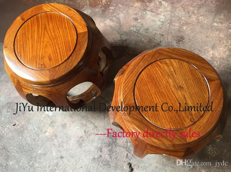 Antique Small drum stool home casual siting in natural lacquer craft 100% luxury African Red sandalwood mini luxury wood chair