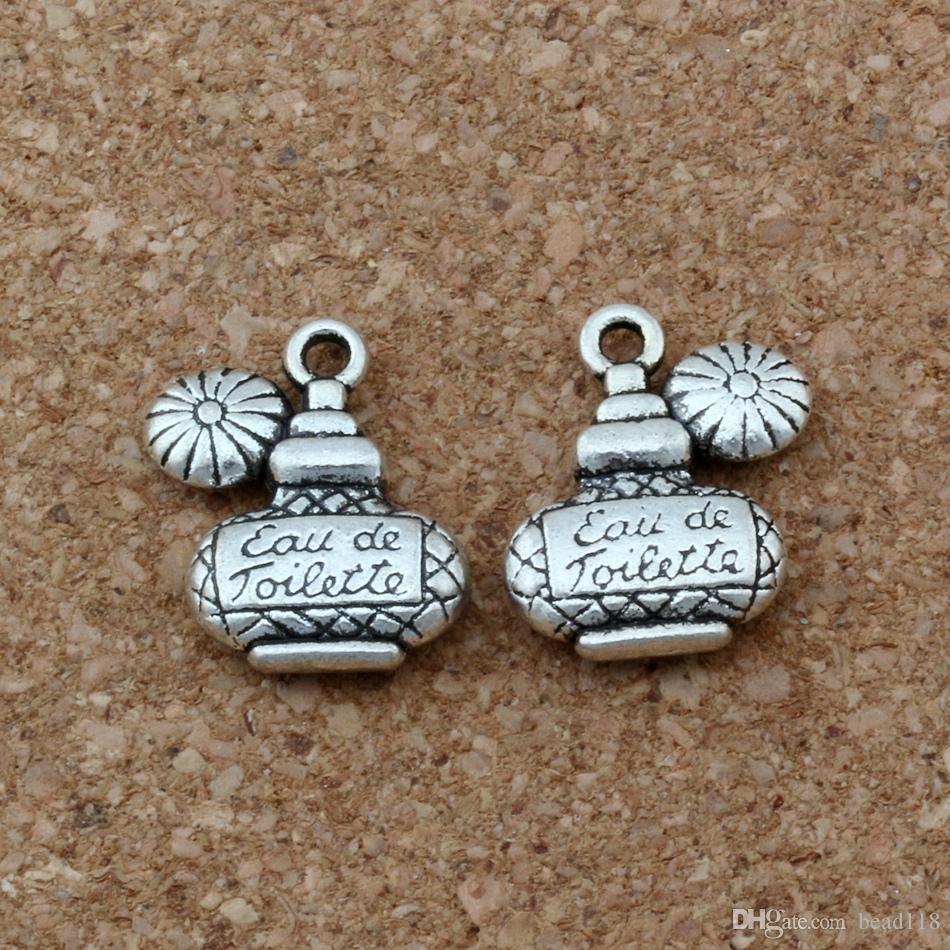 MIC /1lot Antiqued Silver Alloy Eau de Toilette Perfume Bottle Charms 15x17.5mm DIY Jewelry