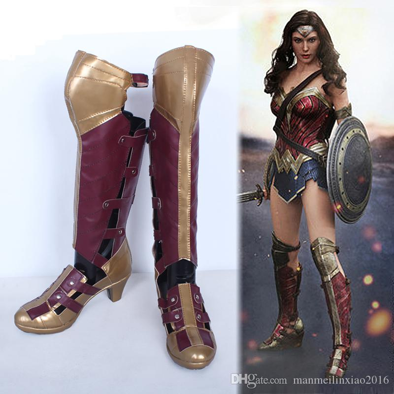 Superhero Movie Batman v Superman Wonder Woman Diana Prince Long Boots Cosplay Shoes Customize High Quality