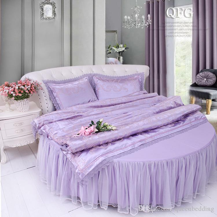 Lace LILAC COLOR Round Bed cotton Bedding sets SWEET home LACE JAQUARD SATIN HOTEL Duvet cover set ROUND BED 2.0-2.5meter bedding sets
