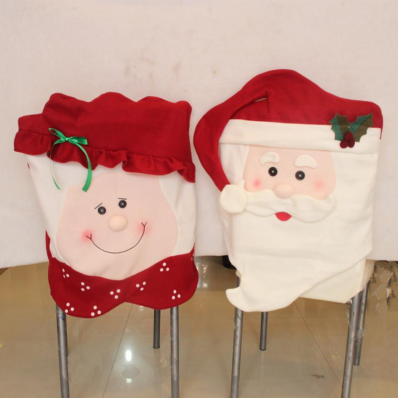 Christmas Party Handmade Red Xmas Husband / Wife Style Chair Cover Decoration Table Dinner Cloth Christmas Festival Decoration Supplies
