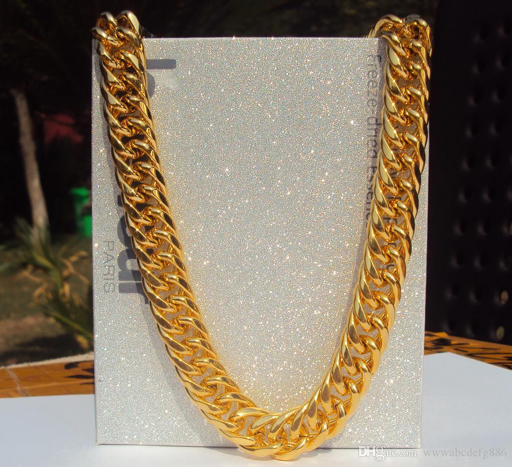 0fb973046aa1 Compre ACEITE DE ORO AMARILLO PESADO 14K SÓLIDO 11mm 24 INCHES RAPPERS MIAMI  CADENA DE ENLACE CUBANO Collar De Oro 100% Real