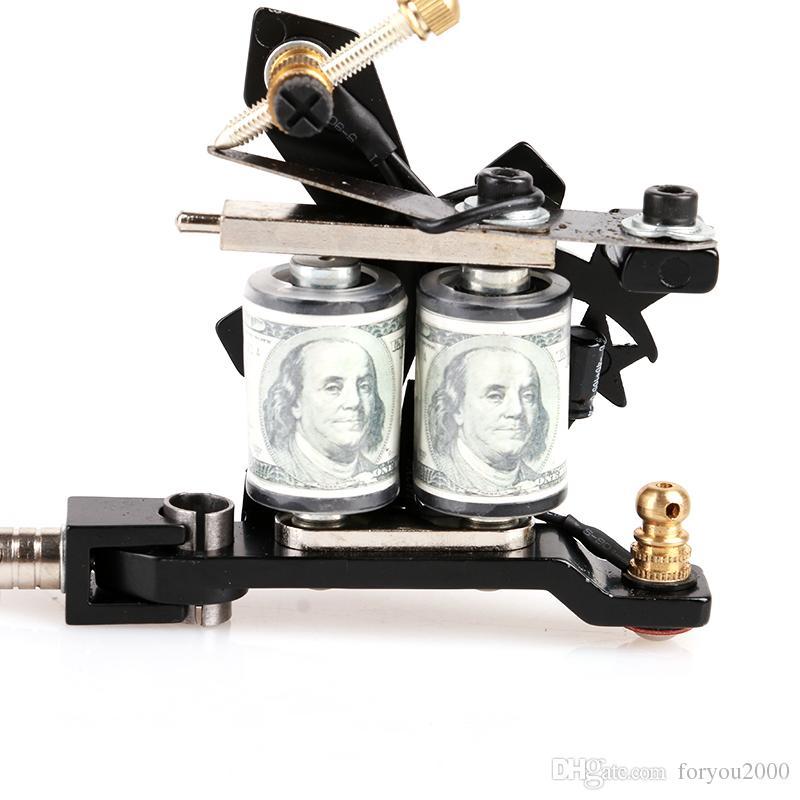GROSSES SOLDES! Nouveau Mini Débutant Machine De Tatouage Cristal Noir Shader 10 Bobines Art d'approvisionnement Machine De Tatouage TM8395