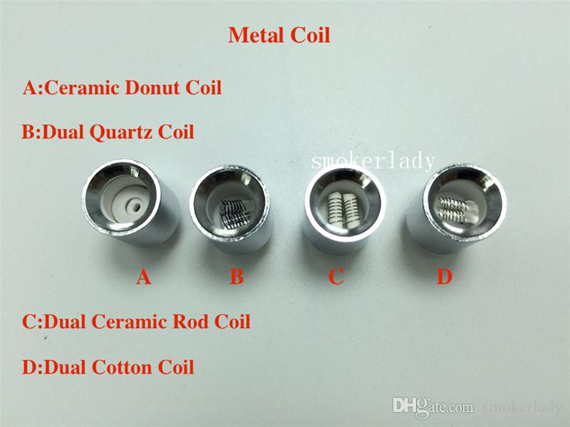 Metal coil Dual quartz wax coils for cannon vaporizer atomizer double coil Ceramic Donut Core Glass Globe vase Skull Bowling cartomizer