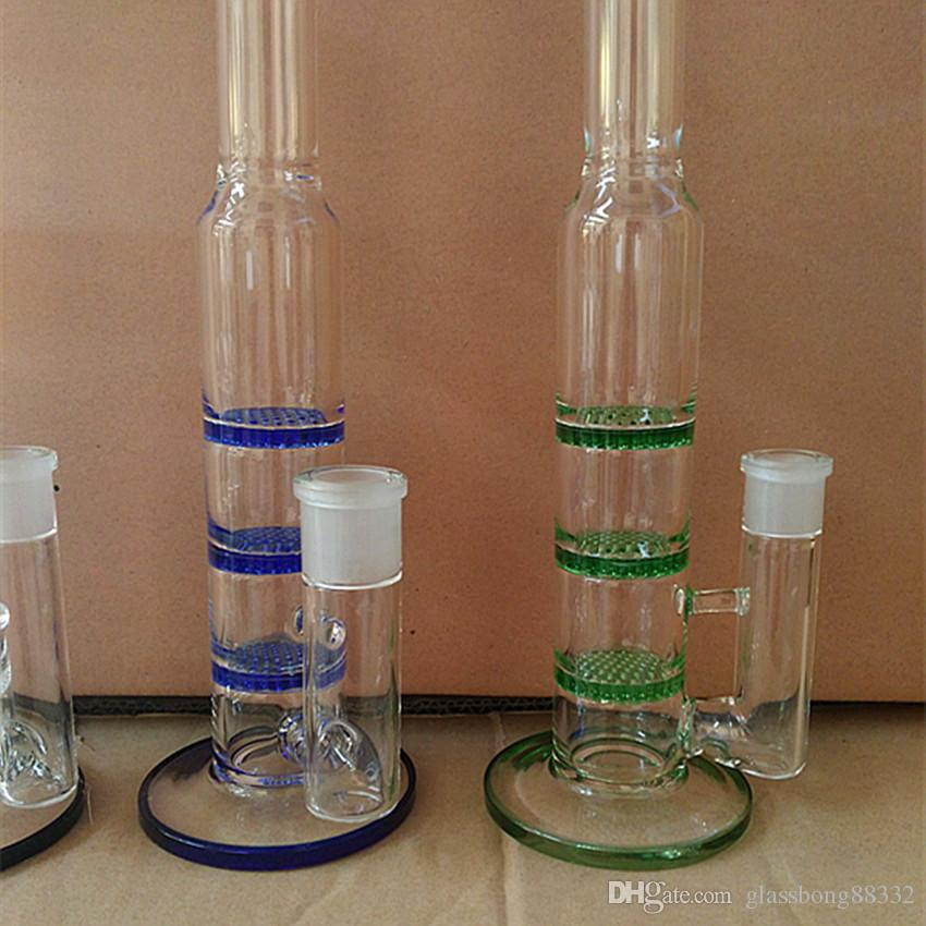 Glass Bong Manufacturer hot selling three honey comb perk Bongs water pipes Oil Rigs glass bongs in Green Blue and Clear Color