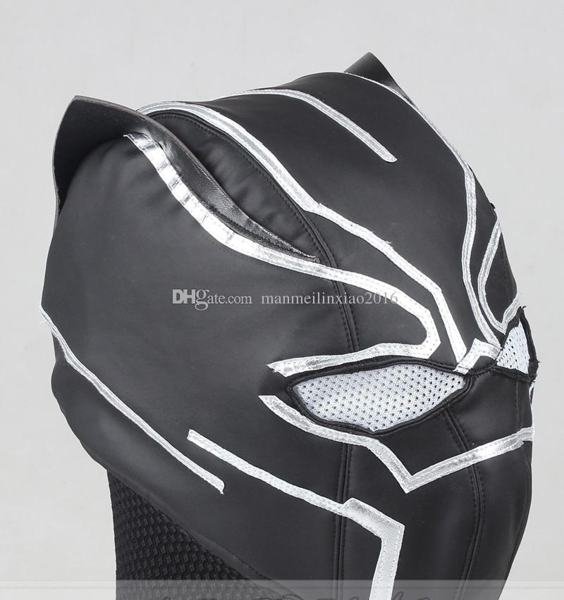 Captain America 3 Civil War Black Panther T'Challa Cosplay Costume Mask Cos Accessories Hat Blak Halloween
