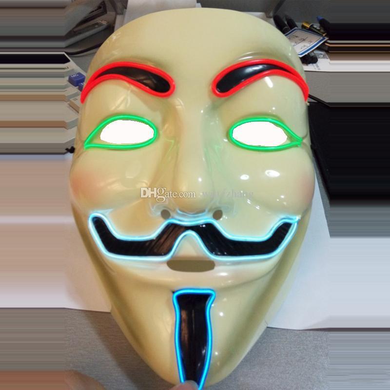 Halloween Vente Chaude 2016 Nouveau Flash El Fil Led Glowing Dj Masque Facial Cosplay De Mode Danse Masque Pour Vendetta Masque