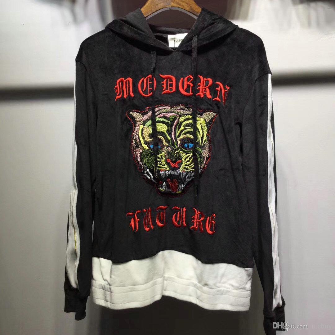 Luxury Designer Brand Men Clothing Velvet Embroid Tiger