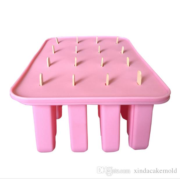 New Style Silicone Popsicle Mold 16 Cuboid Shape Ice Cream Mold with Lid Ice Lolly Cake Mold Baking Tool