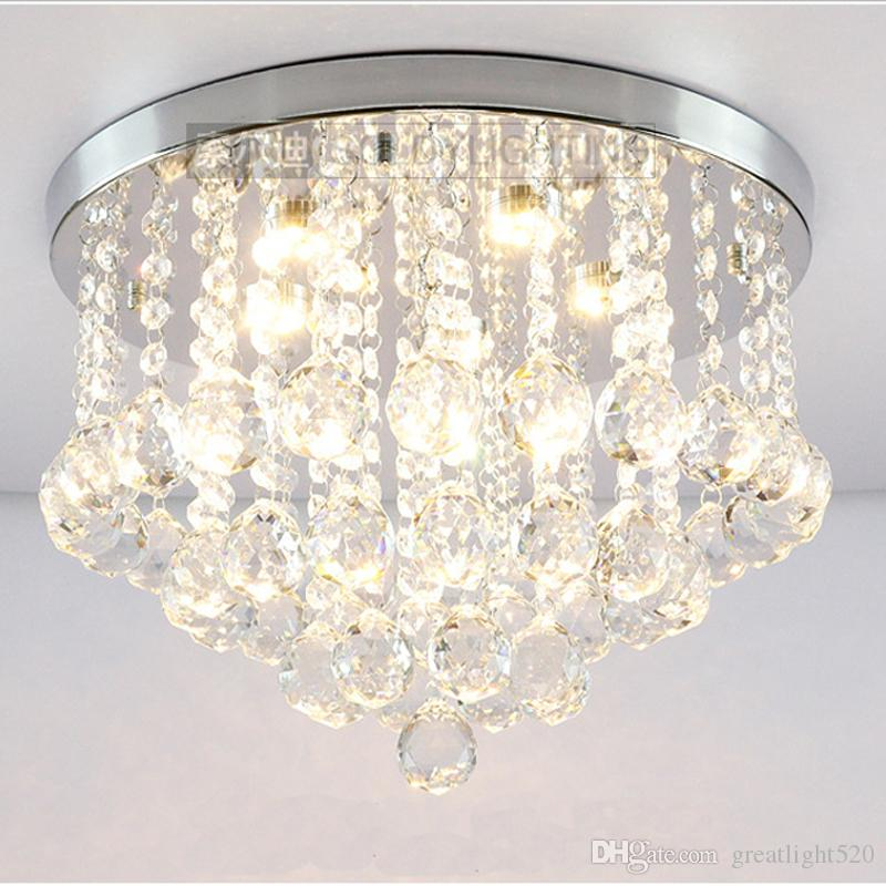 Round K9 Crystal Ceiling Light Droplights Silver Chrome