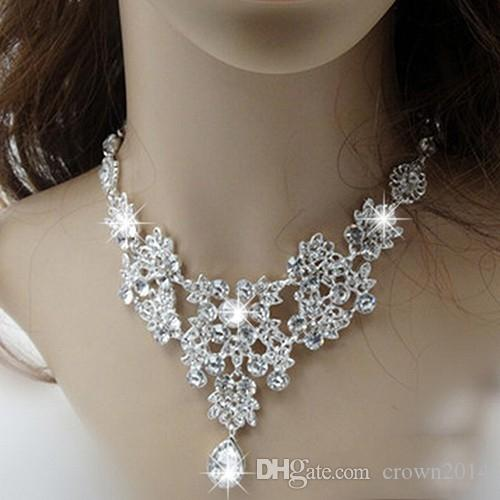 2021 Vendita calda Le donne di modo di modo coreano stile di cristallo orecchini di nozze regolabili collana del pendente regolabile gioielli da sposa set economico spedizione gratuita
