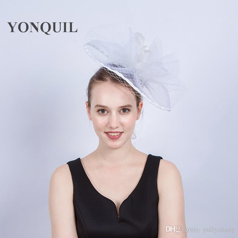 2017 New arrival 30CM crinoline veils Fascinators hats for elgant women feather flower hats kentucky derby holiday millinery hairclip SYF206